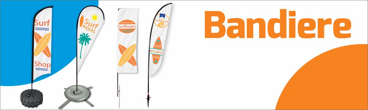 Bandiere e vele pubblicitarie: a goccia, a vela, rettangolari e ad ala