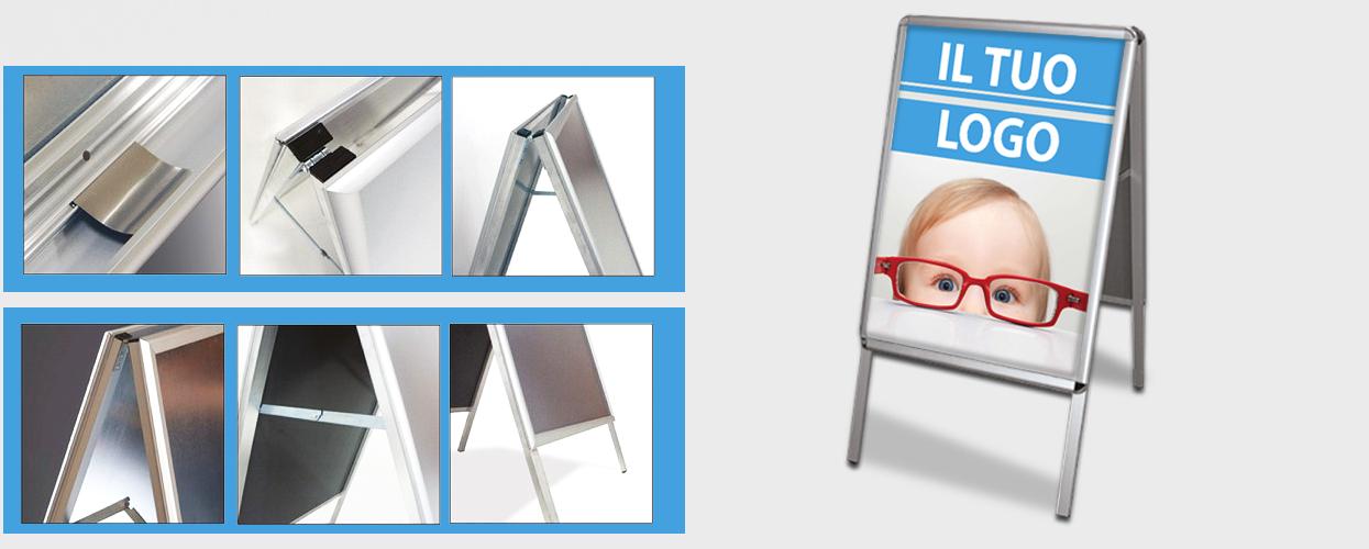 modello cavalletto espositore per interni click-clack in alluminio con stampa online su telo PVC