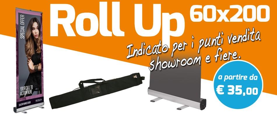 Roll Up 60x200 cm ideale per punti vendita, showroom e fiere